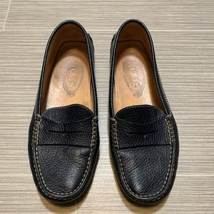 Tods navy blue gommino leather driving loafers